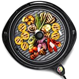 Elite Gourmet EMG-980B Large Indoor Electric Round Nonstick Grill Cool Touch Fast Heat Up Ideal Low-Fat Meals Easy to…