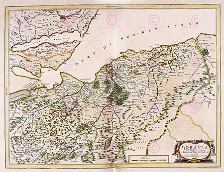 Nairn Scotland Map.Map Blaeu Scotland 1654 Nairn Moray Large Replica Poster Print