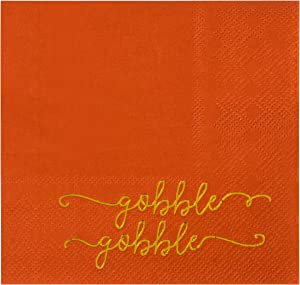 Orange Thanksgiving Paper Napkins for Autumn Party (5 x 5 In, 50 Pack)