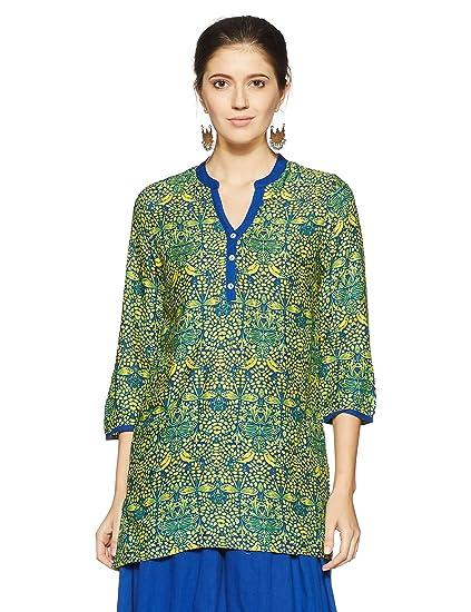 79f12b37713 Akkriti by Pantaloons Women s A-Line Kurta  Amazon.in  Clothing ...