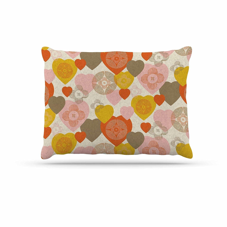 Kess InHouse Maike Thoma Retro Hearts Design  orange Pink Fleece Dog Bed, 30 by 40