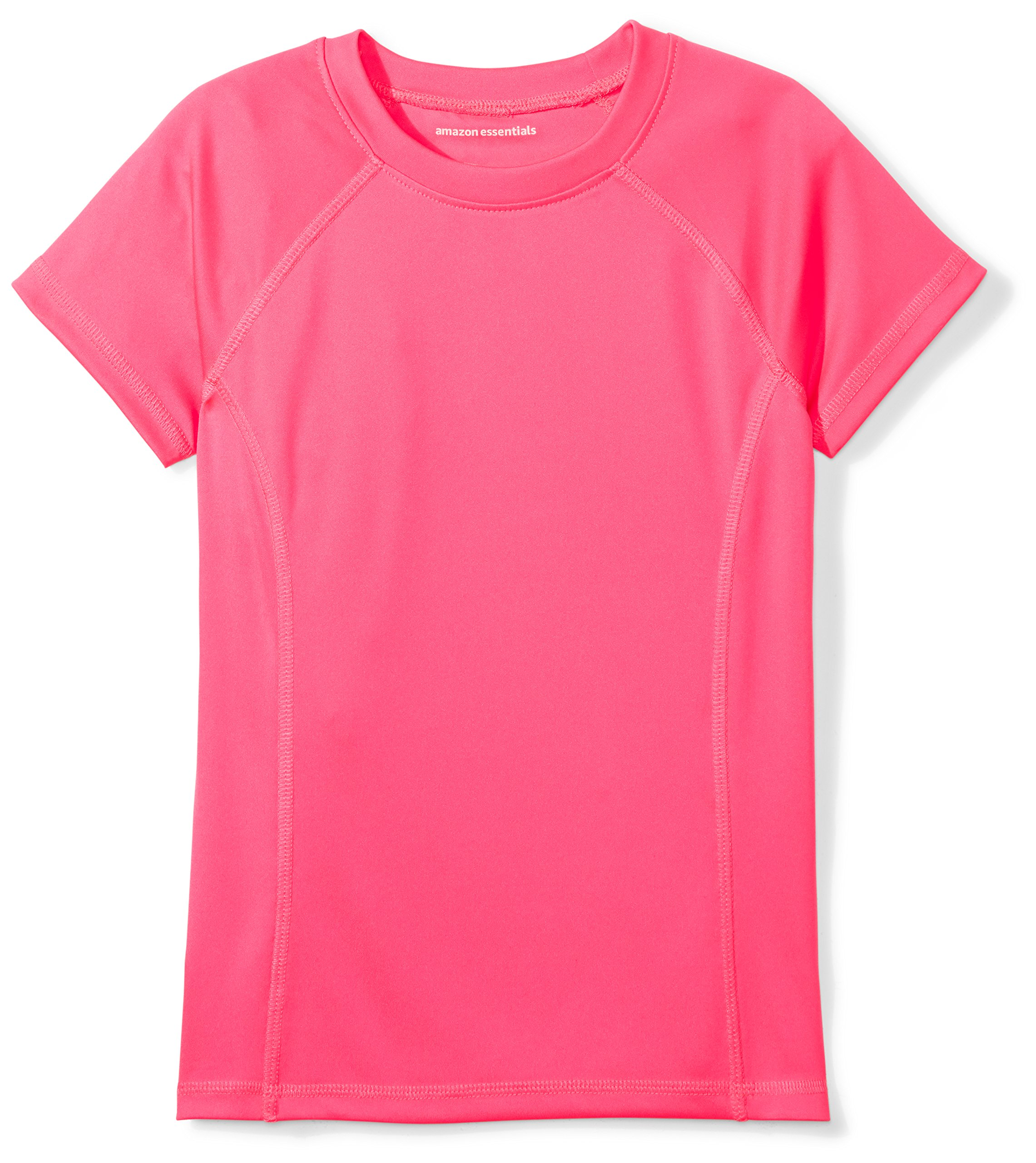 Amazon Essentials Girls' Swim Tee, Bright Pink, L (10)