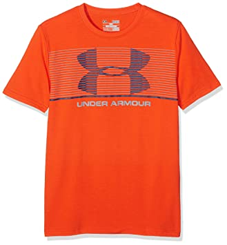 Under Armour Chest Stripe SS T Camiseta, Niños, Naranja (Dark Orange),