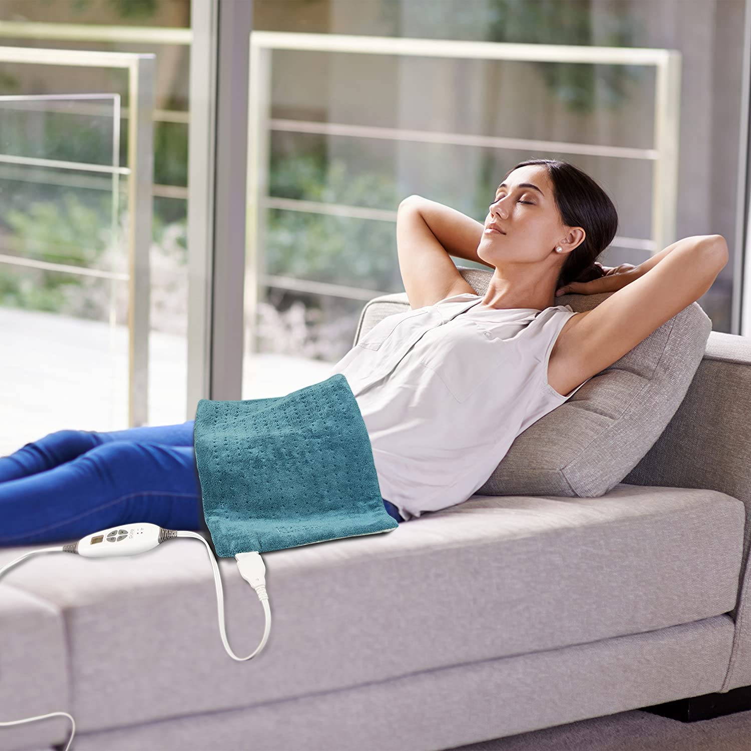 """Pure Enrichment PureRelief XL (12""""x24"""") Electric Heating Pad for Back Pain and Cramps - Ultra-Soft with 6 Temperature Settings, Auto Shut-Off, and Moist Heat (Turquoise Blue): Health & Personal Care"""