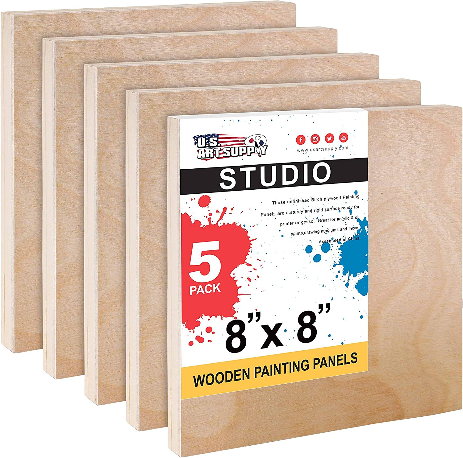 Oil Pack of 4 Studio 3//4 Deep Cradle - Artist Wooden Wall Canvases Encaustic U.S Painting Mixed-Media Craft Watercolor Acrylic Art Supply 9 x 12 Birch Wood Paint Pouring Panel Boards