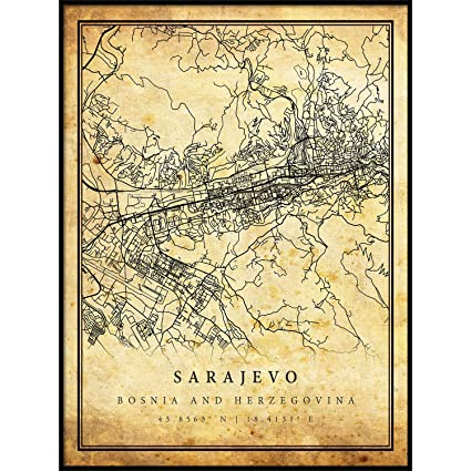 Amazon.com: Sarajevo map Vintage Style Poster Print | Old ... on vienna on map, serbia on map, skopje on map, belgrade on map, belfast on map, stockholm on map, budapest on map, warsaw on map, prague on map, tallinn on map, sofia on map, rome on map, dardanelles on map, western front on map, oslo on map, constantinople on map, zagreb on map, moscow on map, bosnia on map, london on map,