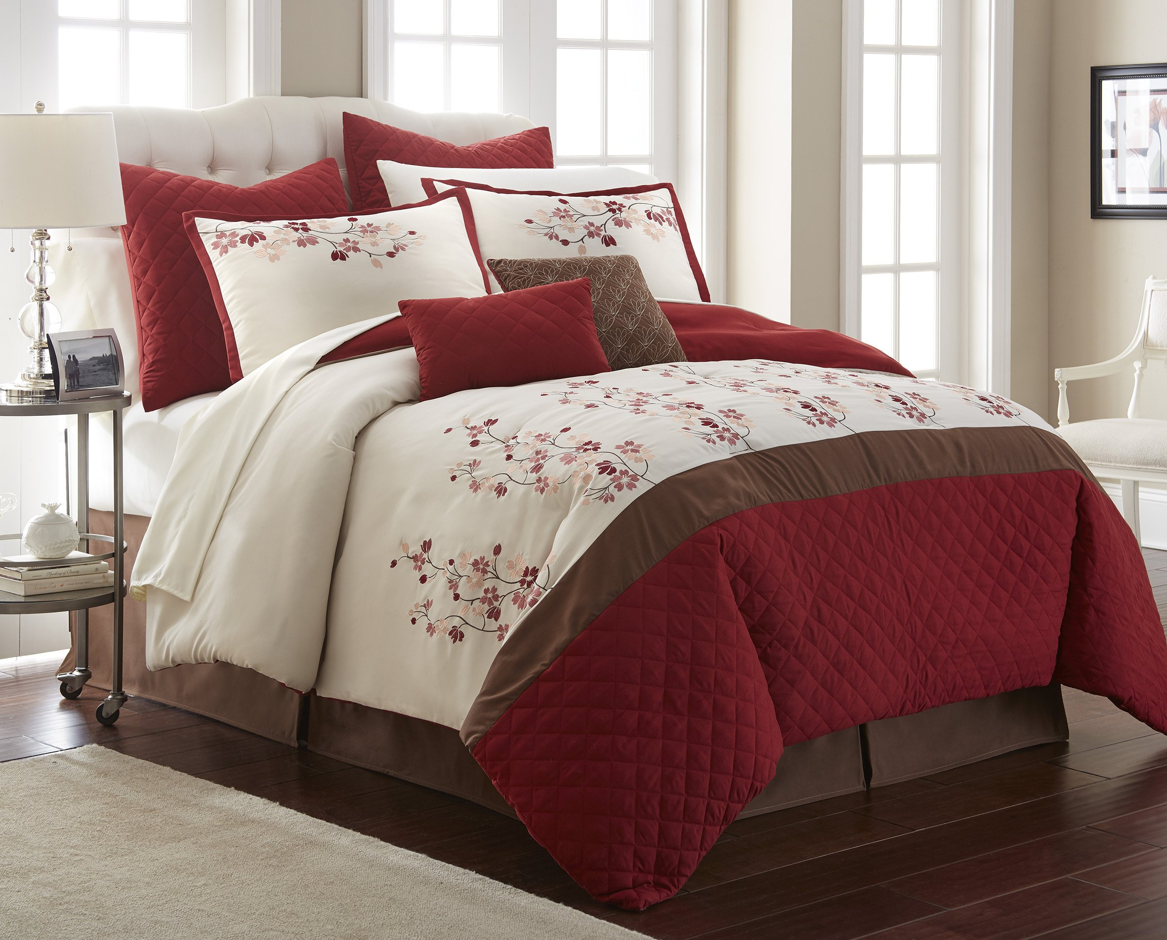 Nanshing America Blossoms Comforter Set, Queen, Red