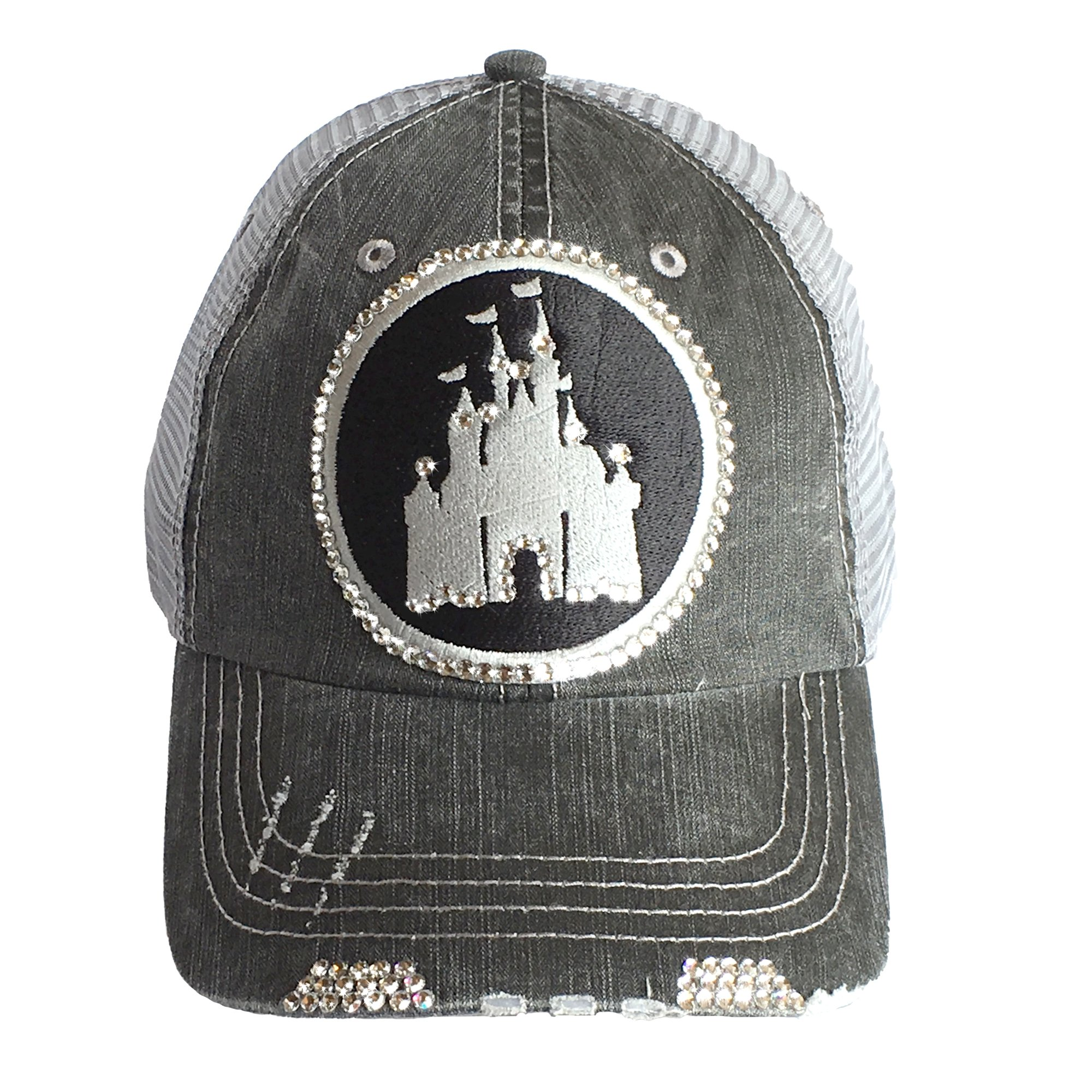 ELIVATA Womens Disney Castle Fitted Trucker Baseball Cap by Swarovski Bling hat,Gray Denim Trucker,One Size