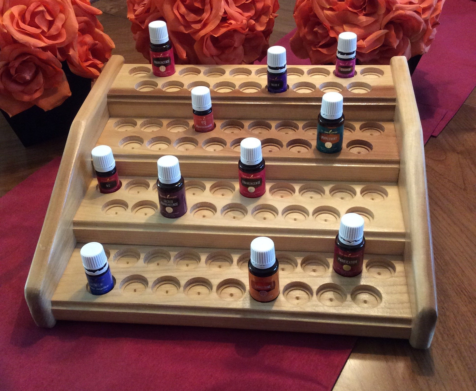 Essential oil rack / holder, EO storage stand for 76 bottles, oil organizer w/ dual bottle sizing, EO display for 5ml and 15ml bottles, 4 colors! Great fit for Young Living or doTerra oils! by John Benz Woodcraft