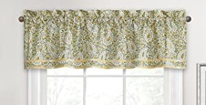 "WAVERLY Valances for Windows - Paisley Verveine 52"" x 16"" Short Curtain Valance Small Window Curtains Bathroom, Living Room and Kitchens, Spring"