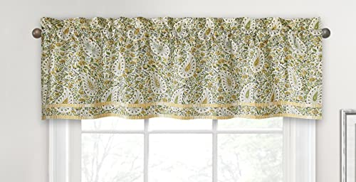 WAVERLY Valances for Windows – Paisley Verveine 52 x 16 Short Curtain Valance Small Window Curtains Bathroom, Living Room and Kitchens, Spring