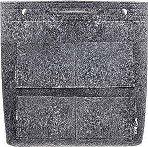 Vercord Felt Tall Long Purse Tote Backpack Bag Insert Organizer Inside for Women Grey
