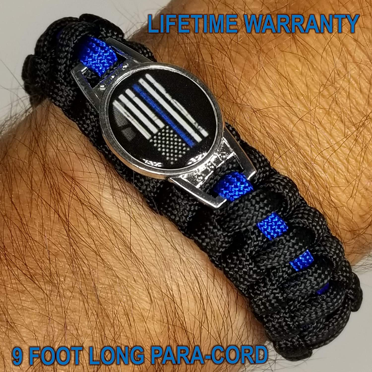 10/% of Sales Donated to Police Department of Your Choice Black and Blue Support The Police Bracelet One Piece Police para-Cord Survival Bracelet Thin Blue Line Bracelet