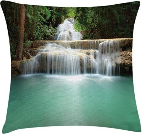 Amazon Com Lunarable Waterfall Throw Pillow Cushion Cover Falling Stream Waterfall Natural Pond Thailand Vacation Theme Print Decorative Square Accent Pillow Case 28 X 28 Almond Green Brown White Home Kitchen