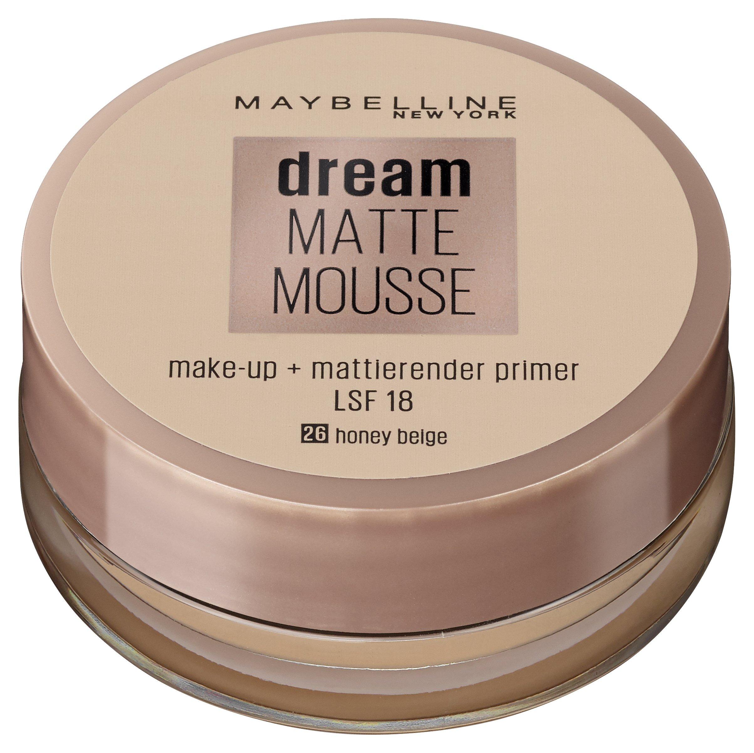 Maybelline Dream Matte Mousse Make-up Nr. 26 Honey Beige, mattierendes Make-up mit luftgeschlagener Mousse-Textur, für ein luftig-leichtes Tragegefühl und wunderbar zarte Haut, 18 ml product image