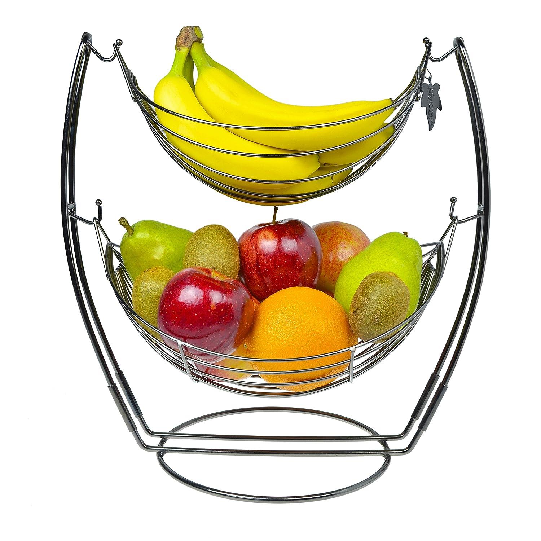 amazon    gun metal double hammock 2 tier fruit   vegetables   produce metal basket rack display stand   mygift  kitchen  u0026 dining amazon    gun metal double hammock 2 tier fruit   vegetables      rh   amazon