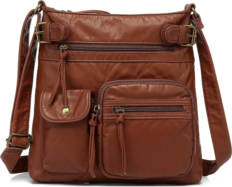 Scarleton Multi Pocket Crossbody Bag for Women, Shoulder Bag, Ultra Soft Washed Vegan Leather Shoulder Purse, H1833