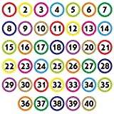 480 PCS Polka Dot 1-40 Numbers Stickers for Office, Classroom, Organizing