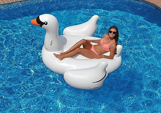 Flotador inflable en forma de Cisne tamaño gigante para la piscina ...