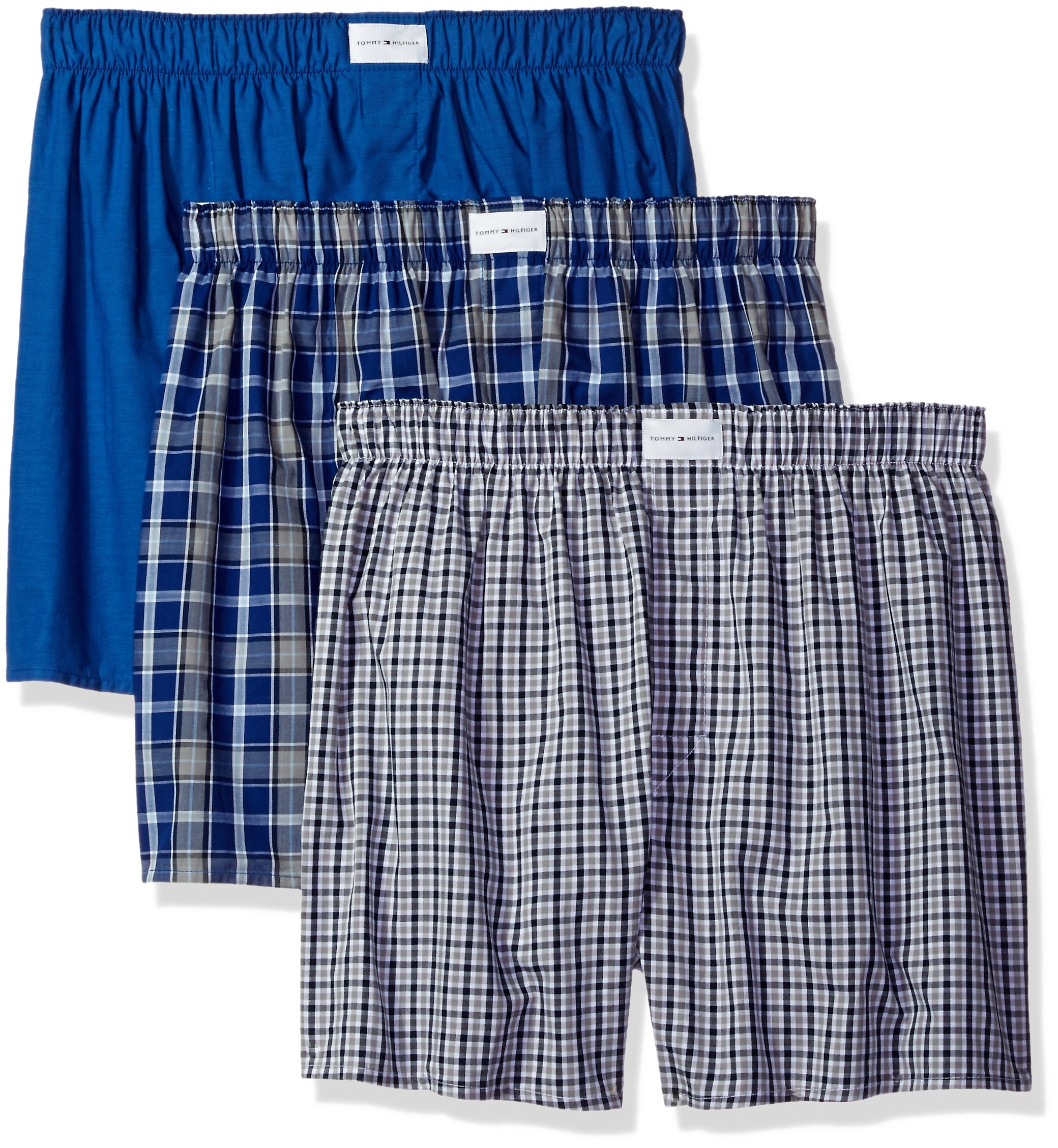 Tommy Hilfiger Men's Underwear 3 Pack Cotton Classics Woven Boxers, Blue Plaid/Solid Blue/Navy Plaid, Large