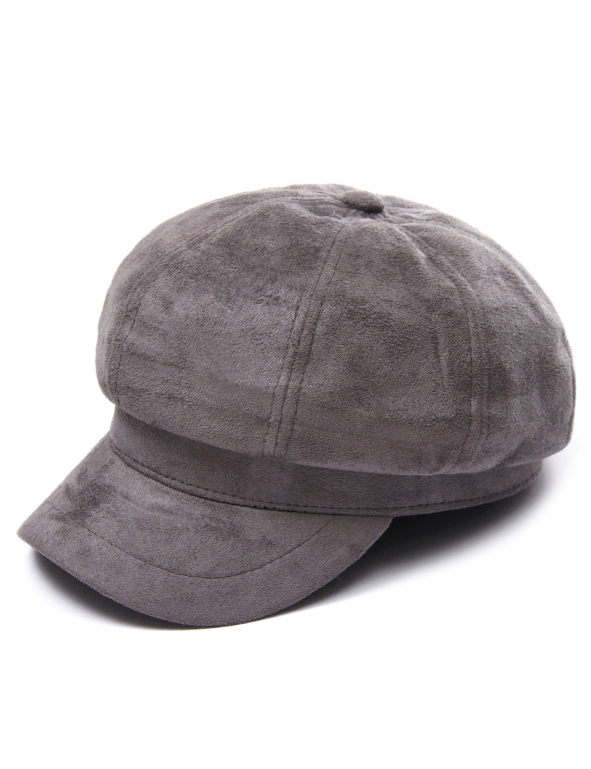 Santiagoana Women Corduroy,Cotton Newsboy Cap Cabbie Painter Beret Cloche Cotton Visor Hats (Grey) by Santiagoana (Image #2)