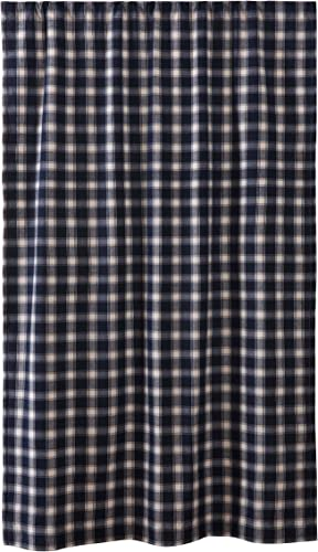 Levtex Home – Lodge – Window Panel with Rod Pocket – One Curtain Panel 84 inch Length – Lodge Plaid – Navy and Cream – 100 Cotton Woven – Lined