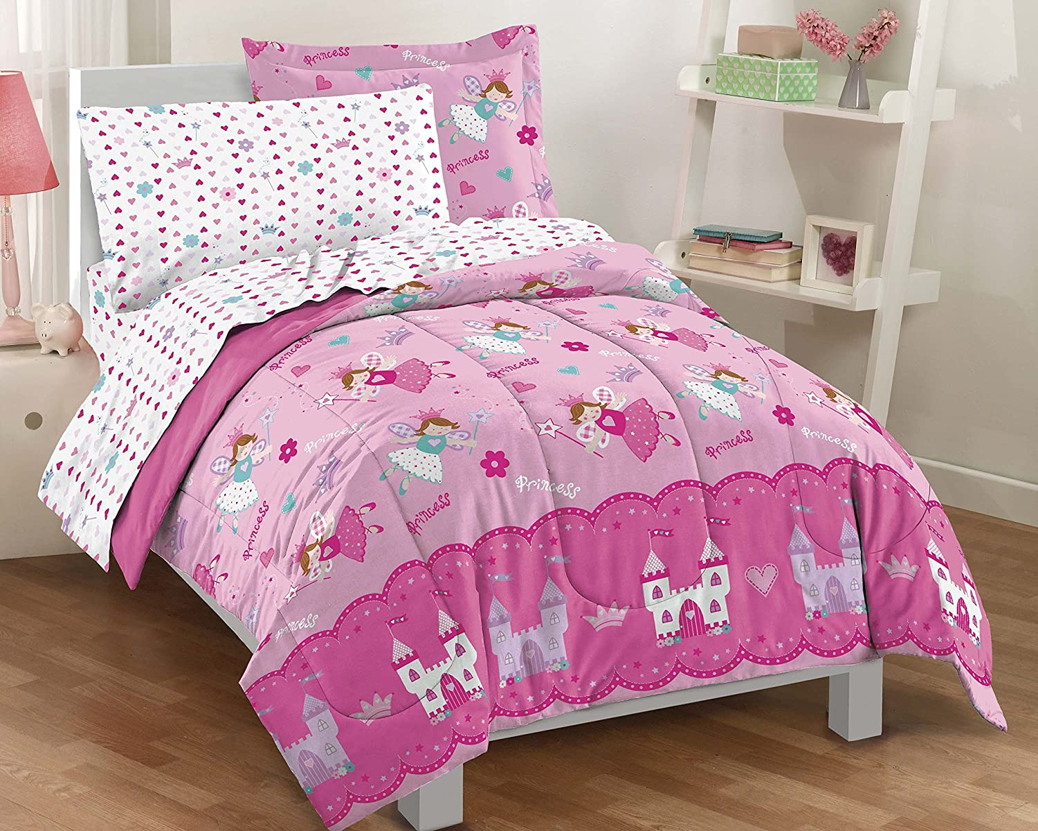 Dream Factory Magical Princess Ultra Soft Microfiber Girls Comforter Set, Pink