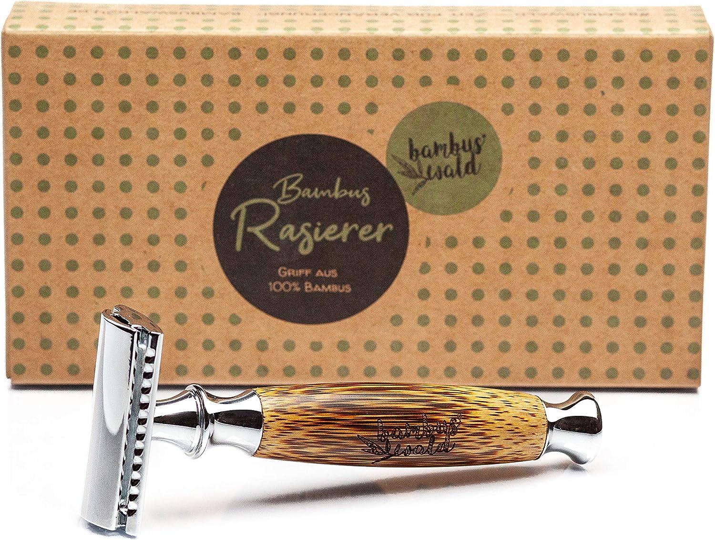 bambuswald© Maquinilla de afeitar para hombres con mango de bambú | Afeitado en húmedo para el mejor cuidado de la ...