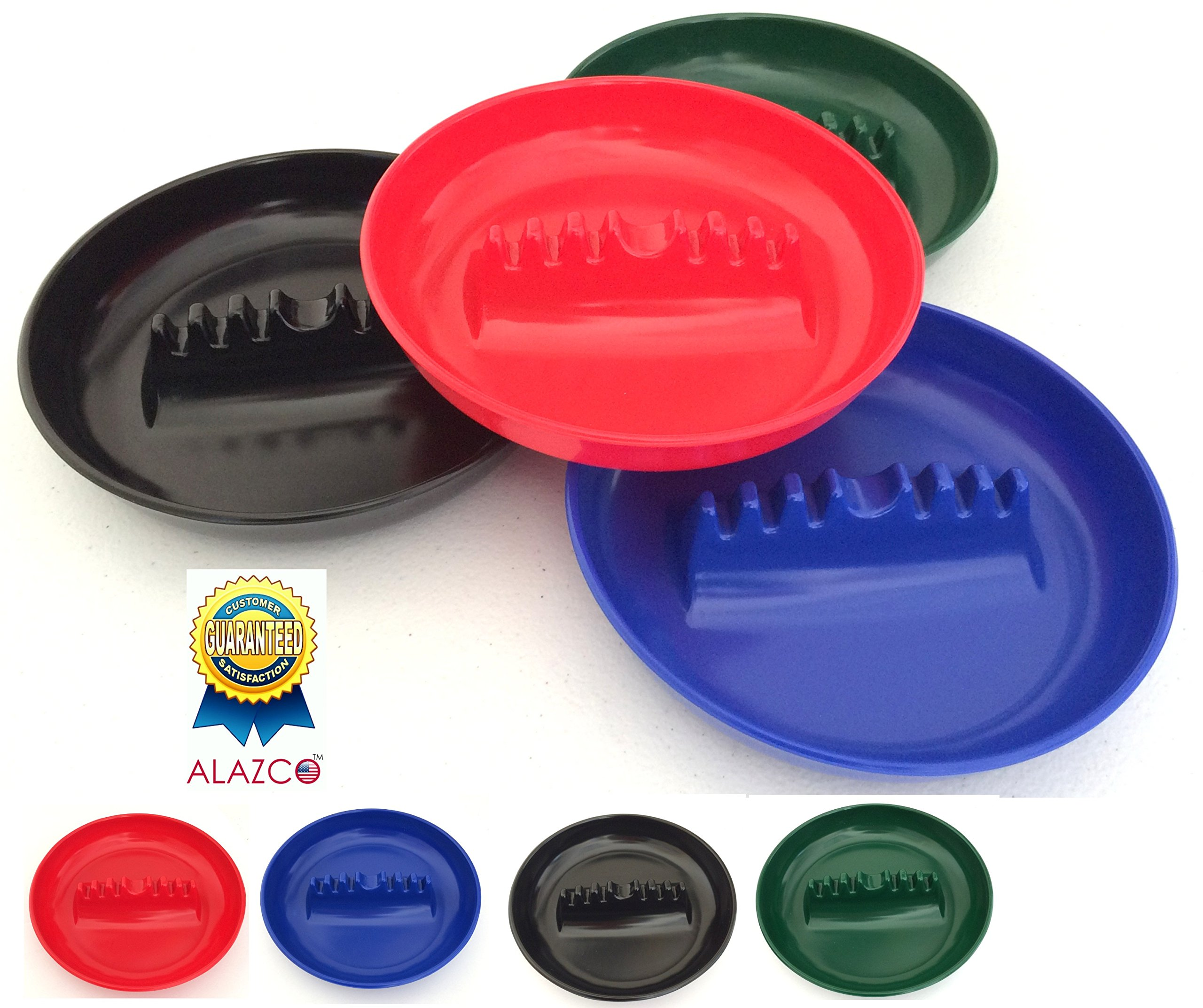 Set of 4 ALAZCO Round Plastic Cigarette Cigar Tabletop Ashtray (Blue, Red, Green & Black in each set) AZ4CAS by ALAZCO