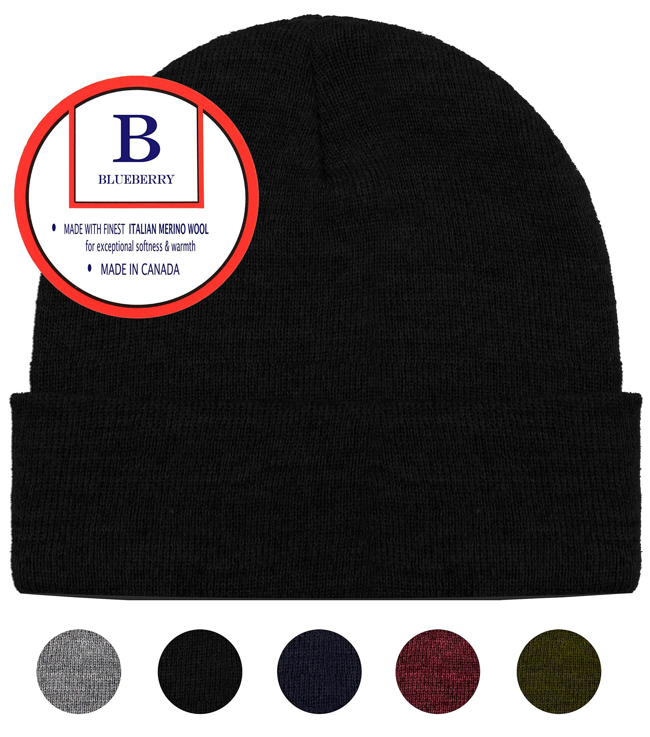 Blueberry Uniforms Black Merino Wool Beanie Hat -Soft Winter Activewear Watch Cap