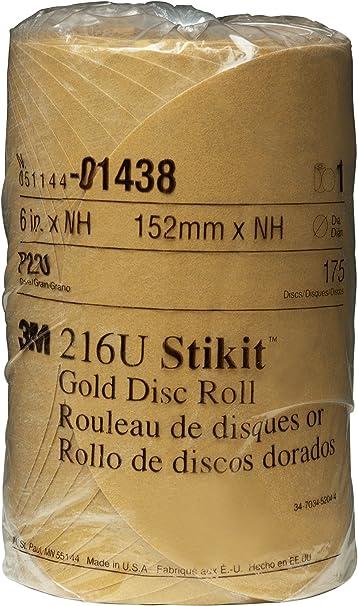 6 Holes Pack of 1 TM P120 Grit Attachment Paper D//F Disc Roll 236U PSA 3M C-Weight 6 Diameter Stikit Aluminum Oxide TM Gold Pressure-Sensitive Adhesive