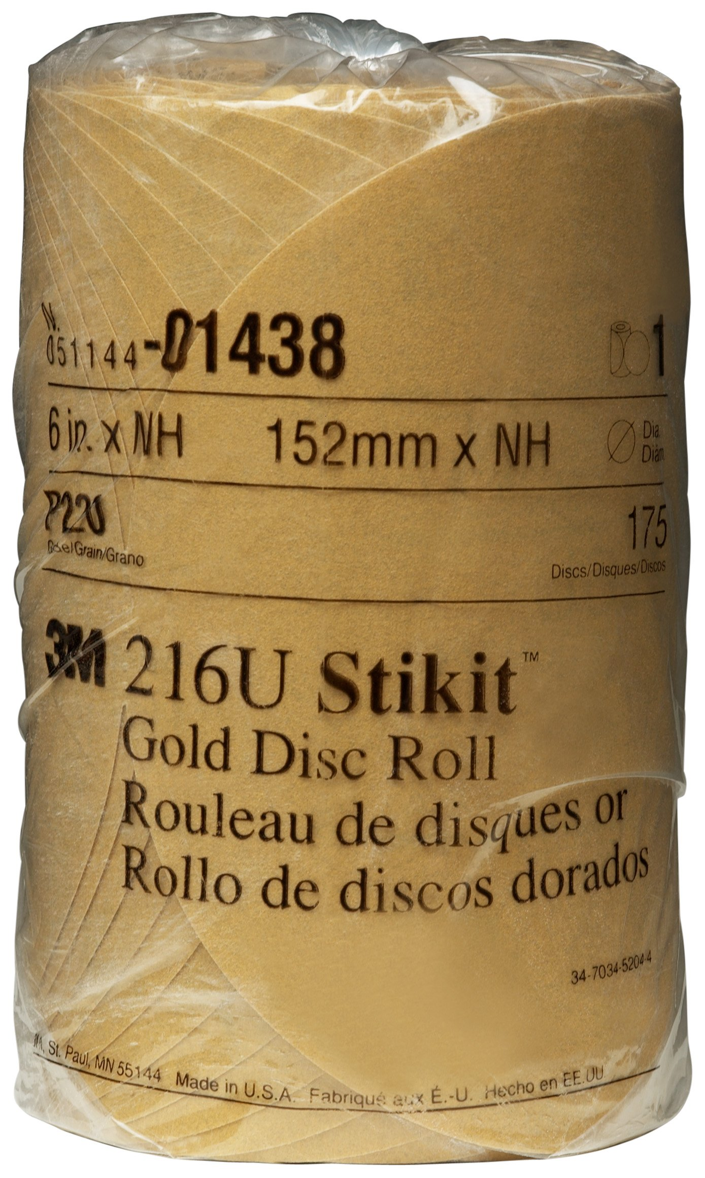 3M 01438 Stikit Gold 6'' P220A Grit Disc Roll (Pack of 6)