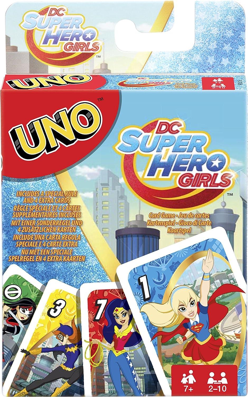 Mattel Juegos fdj16 – Uno DC Superhero Girls, Tarjeta Juegos