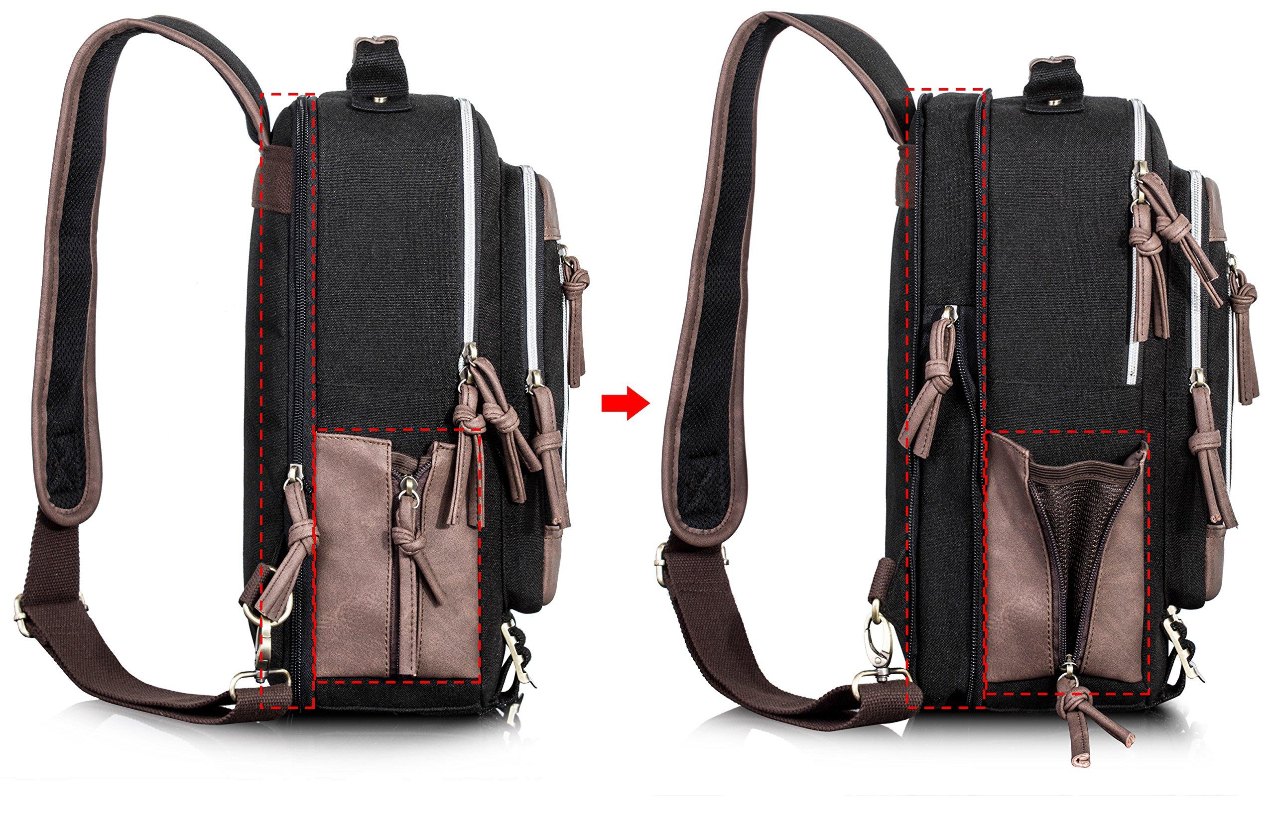Leaper Retro Messenger Bag Outdoor Cross Body Sling Bag Travel Bag Shoulder Backpack (Black3103) by Leaper (Image #5)