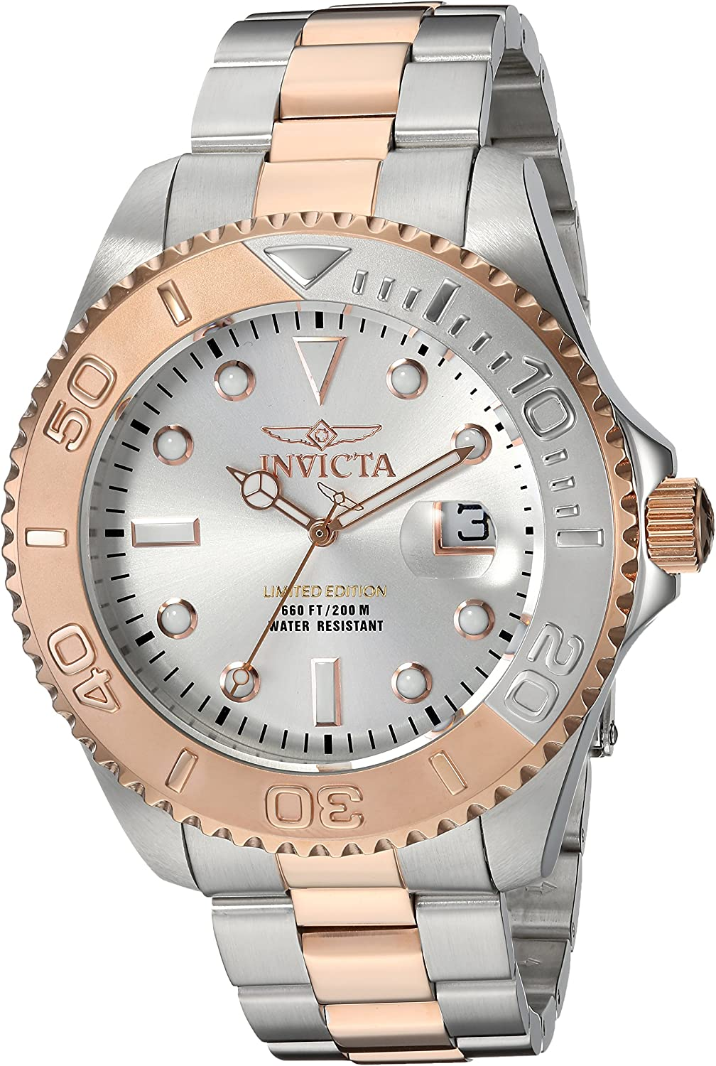 Invicta Men s Pro Diver Quartz Diving Watch with Two-Tone-Stainless-Steel Strap, 9 Model 24624
