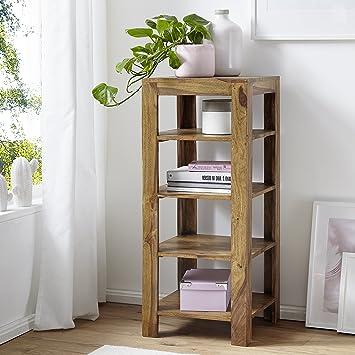 FineBuy Standregal Massiv Holz Sheesham 105 Cm Wohnzimmer Regal Mit 4  Ablagefächer Design Landhaus