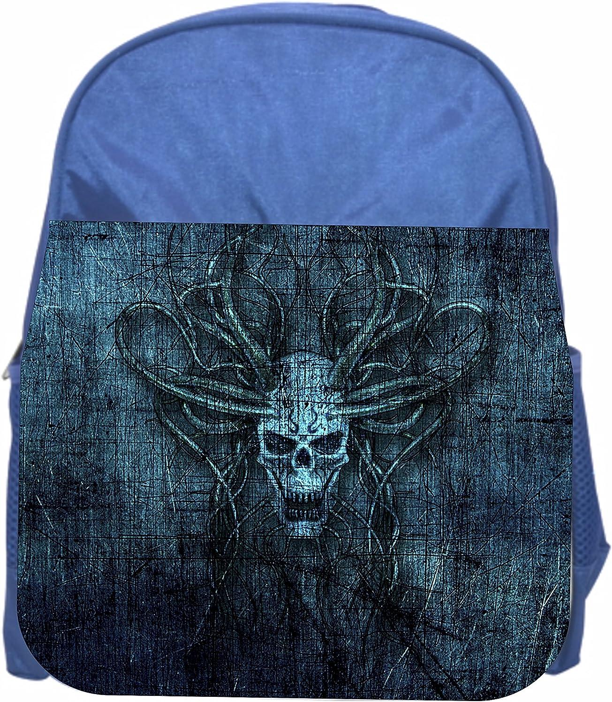Boys//Girls Blue Preschool Toddler Kids Backpack /& Lunch Box Set Devil Skull