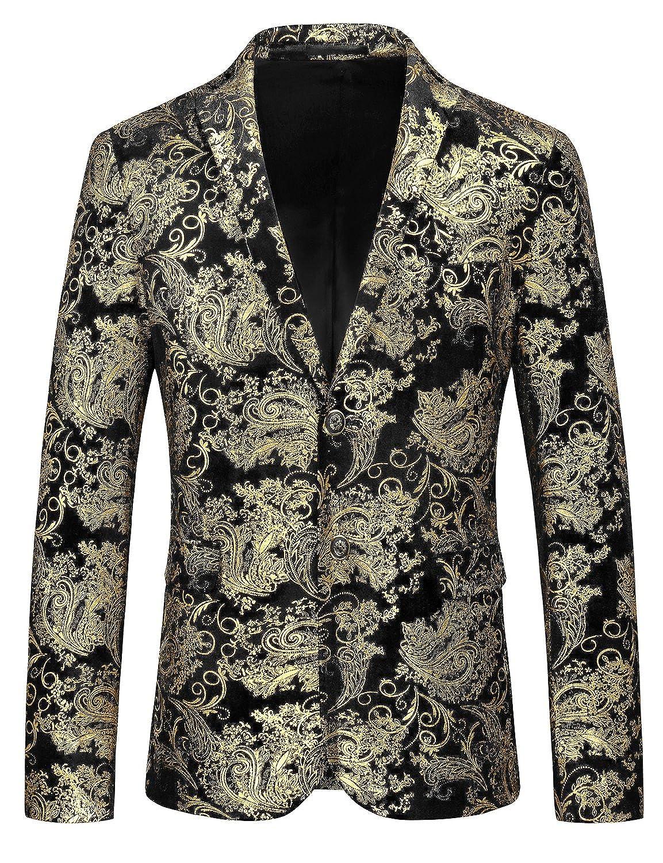 JOGAL Mens Luxury Casual Suit Blazer Slim Fit Coats Chic Jackets