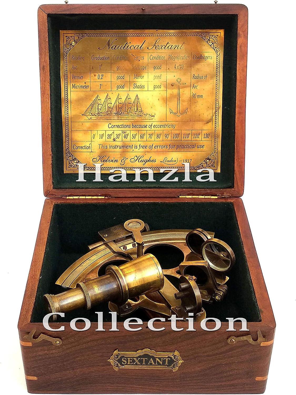 Hanzla Collection - Sextante de latón con caja de madera, instrumento náutico de astrolabio: Amazon.es: Hogar