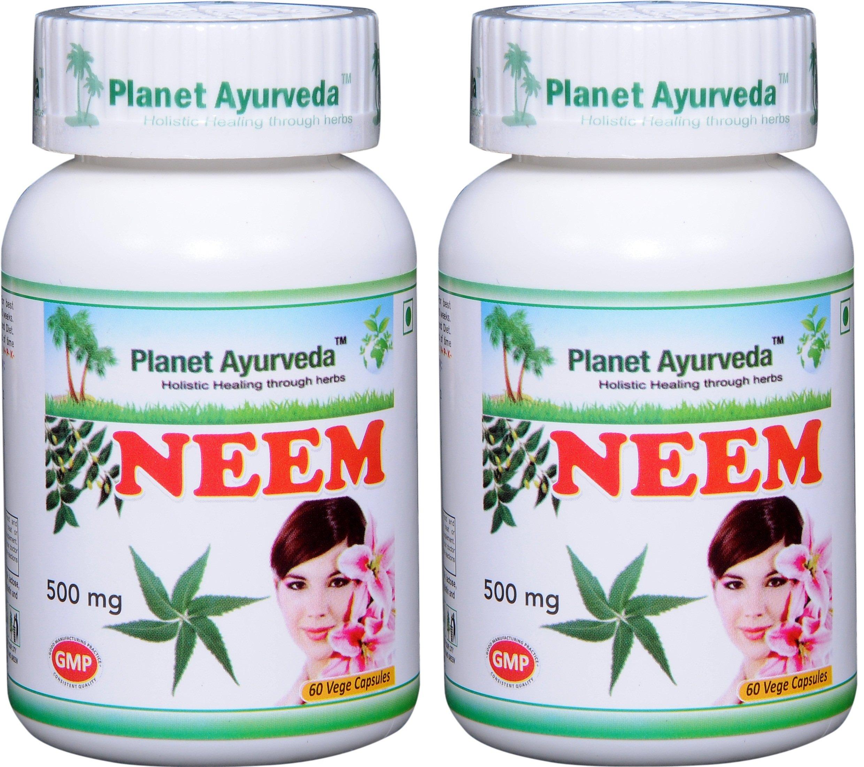 Planet Ayurveda Neem, 500 Mg Veg Capsules, 2 Bottles