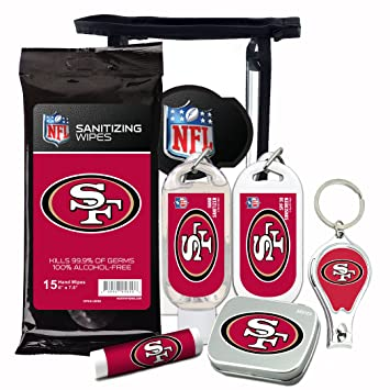 promo code a0c21 2dd6b San Francisco 49ers 6-Piece Fan Kit with Decorative Mint Tin, Nail  Clippers, Hand Sanitizer, SPF 15...