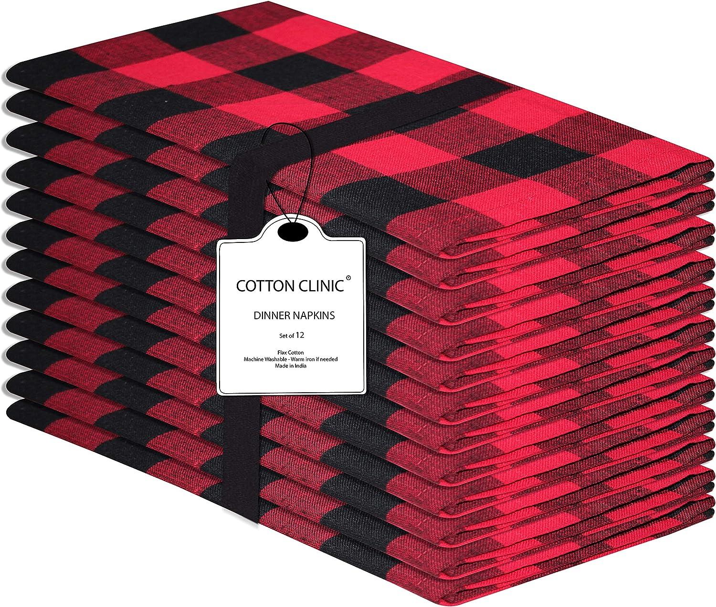 Clinica de algodon 12 Servilletas de Tela Vintage 50 x 50 cm, Servilletas de 100% Algodón Cuadros, Calidad de Hotel Duradera, para Eventos y Uso Doméstico Regular Negro Rojo