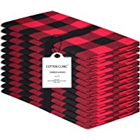 Cotton Clinic 20x20 Gingham Buffalo Check Cloth Dinner Napkins Pack of 12, 100% Cotton Cocktail Napkins, Wedding Dinner Napkins with Mitered Corners and Generous Hem - Red Black