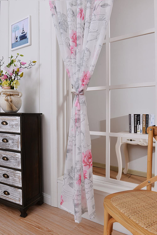 Amazon.de: MUS Weiß BlumenTransparent Gardine Vorhang Raffgardinen Raffrollo  Schlaufenschal Deko Für