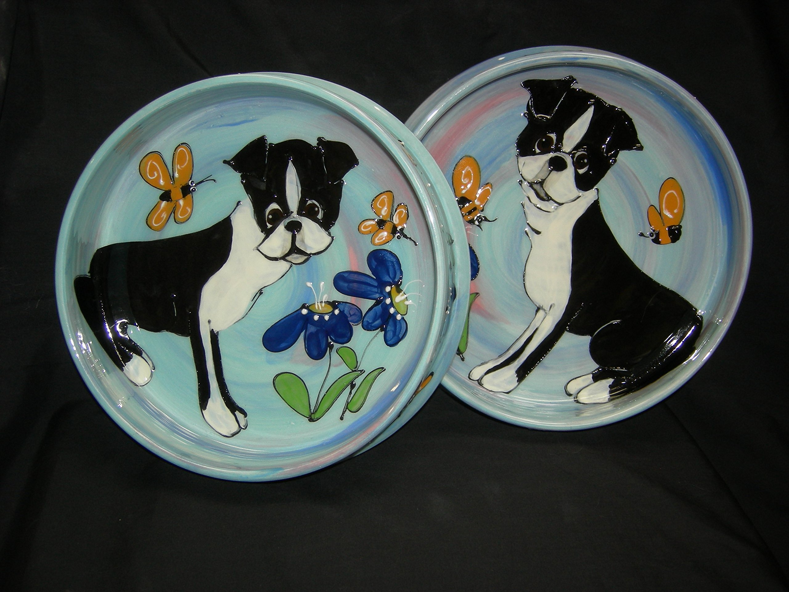 Boston Terrier 8''/6'' Pet Bowls for Food/Water. Personalized at no Charge. Signed by Artist, Debby Carman.