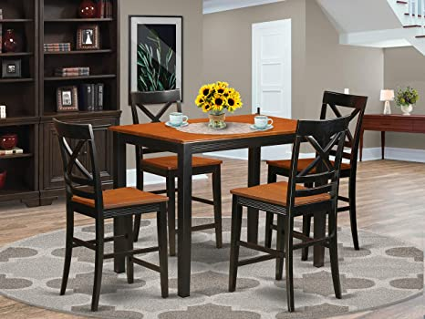 Amazon Com 5 Pc Counter Height Dining Room Set Pub Dining Table And 4 Dining Chairs Table Chair Sets