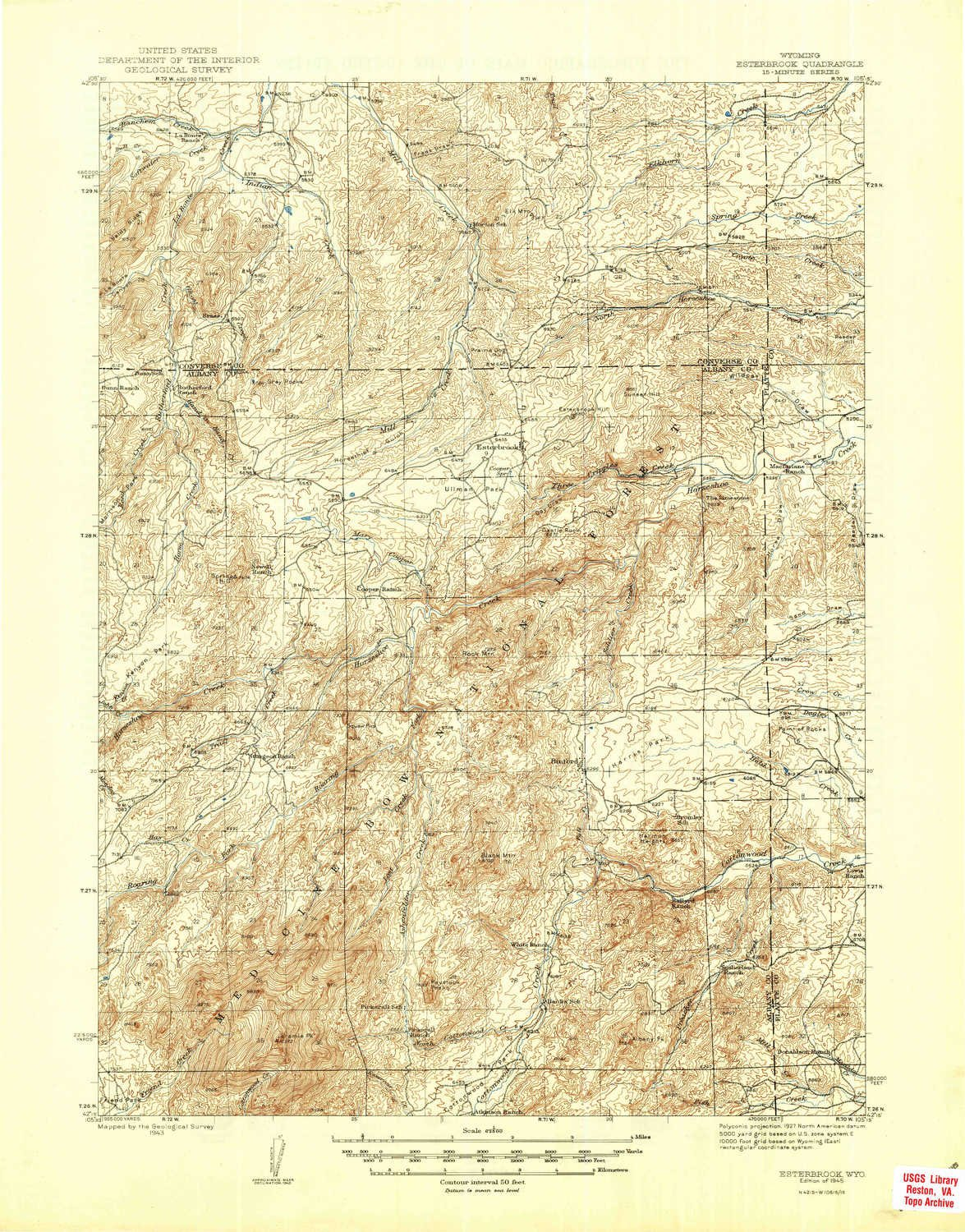 1945 1:62500 Scale YellowMaps Esterbrook WY topo map 15 X 15 Minute 20.9 x 16.3 in Historical
