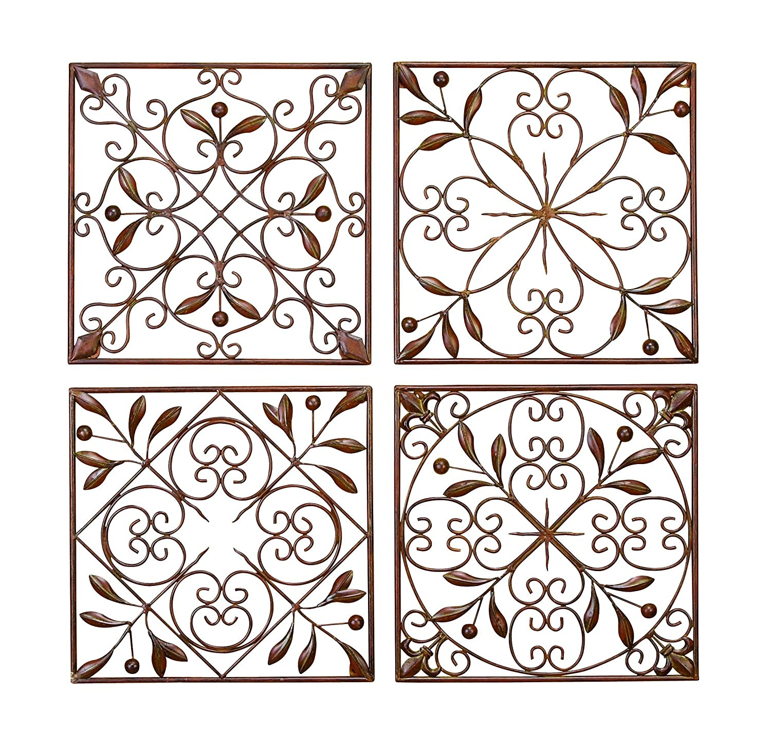 Amazon.com: Deco 79 50035 Metal Wall Decor Set of 4: Home & Kitchen