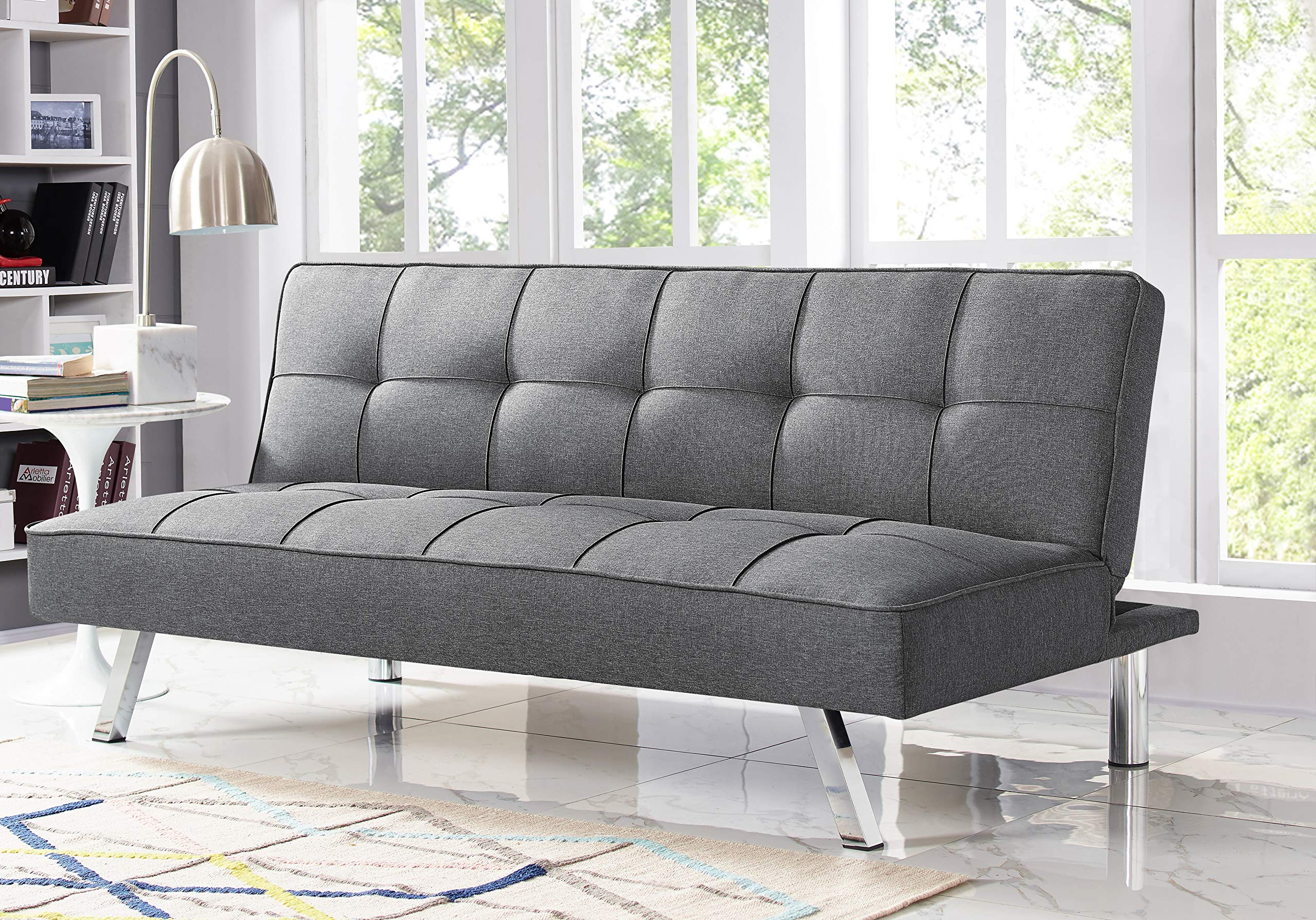 Serta RNE-3S-CC-SET Rane Collection Convertible Sofa, L66.1 x W33.1 x H29.5, Charcoal by Serta