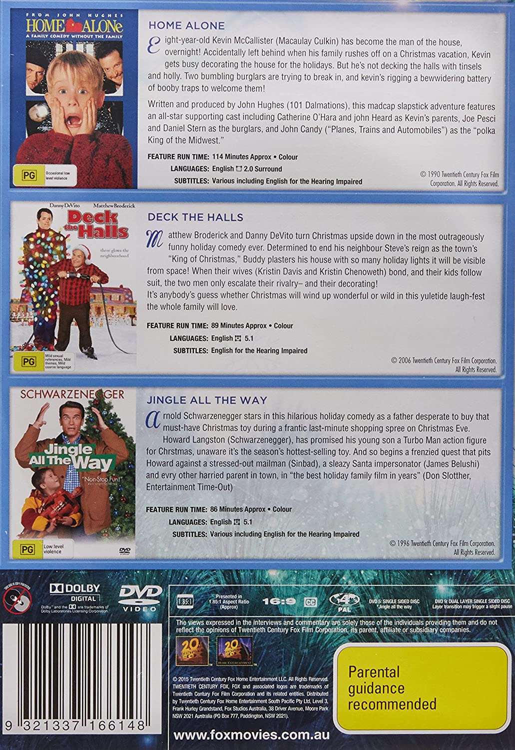 Amazon.com: 3 Movie Christmas Collection: Home Alone, Deck The Halls, Jingle All The Way: Movies & TV